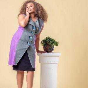 Colorblock wool dress/vest